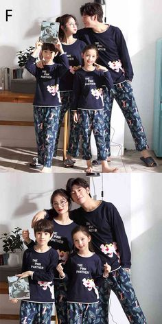 Parent-child pajamas long-sleeved trousers family wear cartoon home service on sale Mens Silk Pajamas, Cotton Pyjamas, Summer Pajamas, Boys Pajamas, Kids Board, Elegant Woman, Kids And Parenting, Pajama Set, Trousers