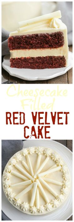 Cheesecake Filled Red Velvet Cake   A sublime combination of red velvet cake, cheesecake and cream cheese frosting! @lizzydo