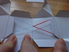 This is a multi-step process and I hope it will be clear. Let's begin with an annotated template that will act as an overview of the steps. This is the BACK SIDE (inside). Print and score… Cube Template, Pop Up Card Templates, Origami Templates, Exploding Box Template, Paper Cube, Paper Pop, Box Cards Tutorial, Card Tutorials, Paper Cards