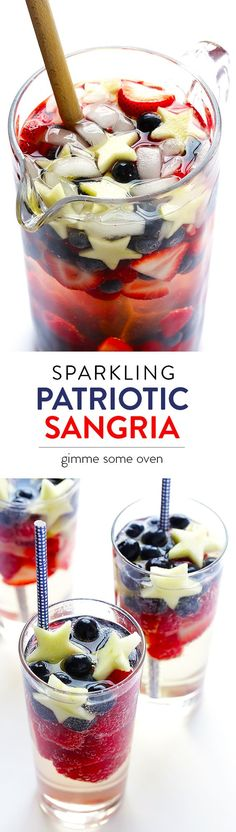 Fourth of July Party Cocktail Idea - This Sparkling Red, White & Blue Sangria is quick and easy to make, and it's always the hit of a party! | gimmesomeoven.com