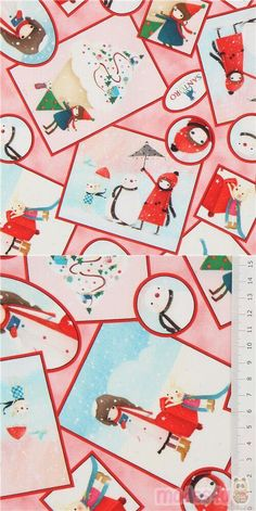 "pink cotton fabric with little girl, rabbits, snow, snowmen, mailbox etc., Material: 100% cotton, Fabric Type: smooth cotton fabric, Pattern Repeat: ca. 30.3cm (11.9"") #Cotton #Children #USAFabrics Santoro London, Winter Photos, Christmas Fabric, Mailbox, Snowmen, Rabbits, Fabric Patterns, Repeat"