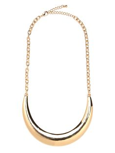 Want to make a spectacularly cool statement with a simple style? Then you'll love this bib necklace which features a glam crescent sliver of gold.  This is part of the BaubleBar + Nina Garcia Minimalism Collection