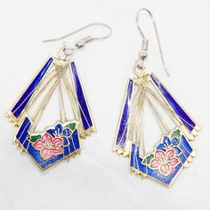 Vintage Cloisonné Drop Earrings – PTB Chic