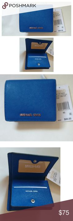 New! MICHAEL KORS Leather Card Holder Wallet NWT Sleek leather and signature hardware define this must-have piece. Crafted with unique Michael Kors touches and enough storage for your day-to-day essentials, this card holder is perfect for toting your items in style.  Color: Electric Blue  Leather Michael Kors signature hardware at front Snap closure Exterior: one zip pocket Interior: one bill pocket, four credit card slots, one ID window Silver-tone hardware; 4.5-inch Width??x 4-inch Height…