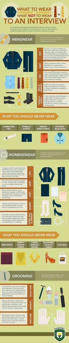 Great tips on what to wear for an interview, and on the job in a professional or office setting.