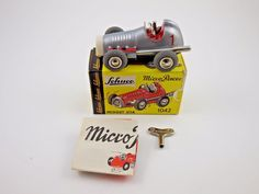 #windup #tin #vintage #antique #toy #toycollecting #diecast #collecting #collectibles Schuco Micro Racer 1042 Midget Silver Wind Up Car New…