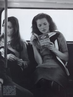 "Kate Moss reading Saint Joan by Bernard Shaw. Vogue Italia, August 1997. Photograph by Bruce Weber. ""LADVENU. You wicked girl: if your counsel were of God would He not deliver you? JOAN. His ways are not your ways. He wills that I go through the fire..."