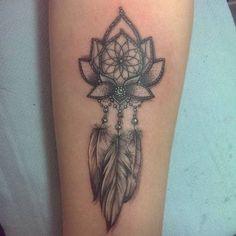 Lotus Flower Dreamcatcher Tattoo Design.