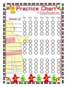 Robot Practice Chart   @ Susan Paradis Piano Teaching Resources
