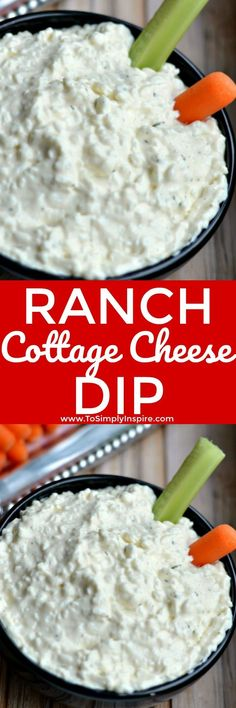 This tasty Ranch Cottage Cheese Dip will quickly become a favorite in your house. With only 3 ingredients, you will love how simple it is to whip up and serve with fresh veggies and crackers. | www.ToSimplyInspire.com #cottagecheese #dip #easyrecipe