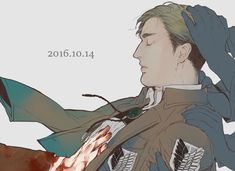 blonde_hair blood closed_eyes dated erwin_smith jacket male_focus shingeki_no_kyojin short_hair solo_focus uniform Attack On Titan Hoodie, Attack On Titan Ships, Attack On Titan Anime, Levi X Petra, Levi And Erwin, Fanart, Eruri, Anime Merchandise, Anime Costumes