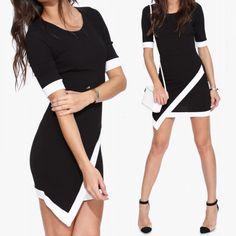 Fashion Women Mini Dress Contrast Splicing Asymmetric Hem Half Sleeve Bodycon Party Dress Black/White/Khaki