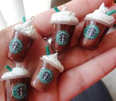 Who wants a Pumpkin Spiced Latte?! Repin if you do! 6 Starbucks Frappuccino Charms, starting at $5.