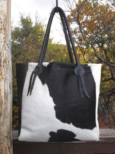Black and White Cowhide Tote