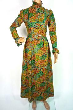 Beautiful 60s Psychedelic Maxi Dress By Dolly by HuzzarHuzzar