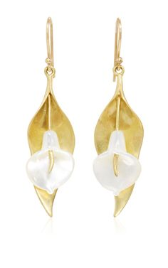 Large Cala Lilly Earring With White Mother Of Pearl by ANNETTE FERDINANDSEN for Preorder on Moda Operandi