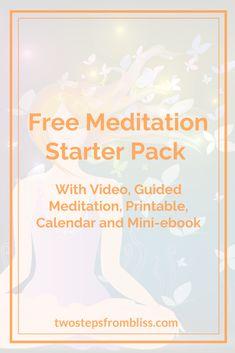 Meditation Starter Pack - Two Steps From Bliss Basic Meditation, Meditation Videos, Meditation For Beginners, Healing Meditation, Meditation Practices, Meditation Music, Mindfulness Meditation, Guided Meditation, Feeling Stressed