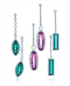 Tiffany diamond drop earrings with (from left) marquise green tourmaline, oval kunzite, baguette green tourmaline.  Photo credit: Carlton Davis