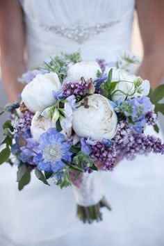Second favorite bouquet right now. Wedding Bouquet of peonies, scabiosa, sweet peas and lilac Salt Harbor Designs - home Peony Bouquet Wedding, Purple Wedding Bouquets, Blue Bouquet, Purple Wedding Flowers, Floral Wedding, Wedding Colors, Trendy Wedding, Bridal Bouquets, Purple Wildflowers