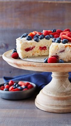 Angel food cake, berries and creamy vanilla yogurt make this simple dessert utterly irresistible. For an impressive presentation, just before serving, lightly dust fruit with powdered sugar. So pretty!