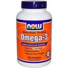 29,06€ - Now Omega 3 1000mg 200 perlas -El Concentrado Natural de Aceite de Pescado que se utiliza en esta cápsula suave está fabricado bajo estrictos controles de calidad. La prueba se hace para estar libre de niveles potencialmente dañinos de los contaminantes (es decir, el mercurio, metales pesados, PCBs, dioxinas y otros contaminantes). La investigación muestra que el consumo de EPA y DHA ácidos grasos omega-3 puede reducir el riesgo de enfermedad coronaria.