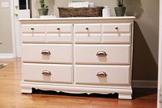 Making a Dresser Dressier — Before & After also tips on how to for this type of project.  http://www.apartmenttherapy.com/making-a-dresser-dressier-befo-139159