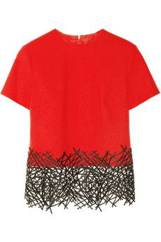 Christopher Kane Lace-trimmed wool-crepe top | NET-A-PORTER