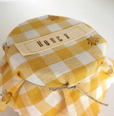 yellow gingham honey jar covers - darling!