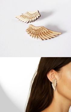 Wing Earrings by Vectorcloud. Made out of finely engraved lasercut Birch wood.