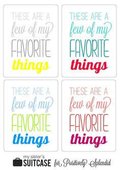 Favorite Things Printable