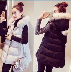 7bfac73aebc Women Winter Down Jacket Warm Long Vest Girls Ladies White Duck Down Goose  Down Parka Fox Fur Hooded Thick Warm Maternity Coat