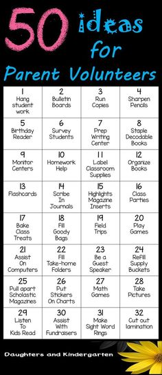 50 ideas on how to use parent volunteers in the classroom and from home.   Sarah Griffin, Daughters and Kindergarten http://www.daughtersandkindergarten.blogspot.com