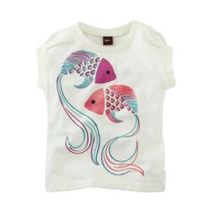 Tea Collection Baby-girls Petit Poissons Tee, Milk
