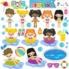 Girls Pool Party / Kit printable / Digital Clipart / by DimiPix, $4.00