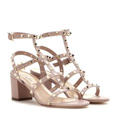 mytheresa.com - Rockstud leather sandals - Mid-heel - Sandals - Shoes - Valentino - Luxury Fashion for Women / Designer clothing, shoes, bags