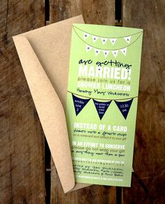 Rustic Banner Wedding Shower Invitation - Green & Navy  Blue. $25.00, via Etsy. Love the bunting and lime green