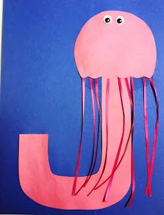 Letter J Craft - Jelly Fish  Idea Note: Have students pick a letter from a hat or choose a letter themselves and design the letter with a theme for a word starting with it. IE J for Jellyfish, C for Cat.