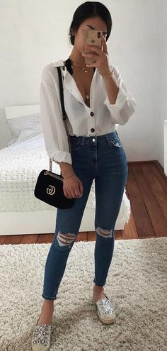 45 trendy summer outfits you need right now- 45 angesagte Sommeroutfits die Sie gerade brauchen 45 trendy summer outfits you need right now - Trendy Summer Outfits, Cute Casual Outfits, Simple Outfits, Spring Outfits, Casual Chic, Winter Outfits, Teenager Outfits, College Outfits, Vetement Fashion