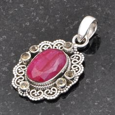 FANCY JEWELLERY 925 SOLID STERLING SILVER HOT RUBY PENDANT 7.83g DJP6366 #Handmade #Pendant