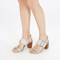 Warehouse, Triple Strap Stacked Sandal Light Grey 0