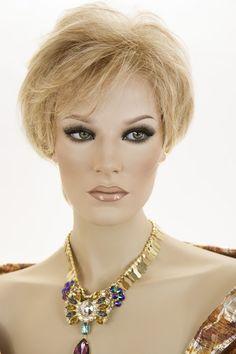 Red Gold & Pale Blonde Blend Pale Tip Med Red Nape Straight Short Lace Front Wig