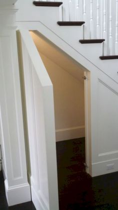 Hidden Door to storage. Toby Leary Fine Woodworking - entrances/foyers - traditional staircase hidden nook hidden storage nook faux panels faux paneling faux s. Stairs Design, Hidden Spaces, Home, Foyer Decorating, House Design, Staircase Storage, Remodel, Wainscoting Stairs, Basement Remodeling