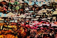 Winter Beauty - Chava Silverman Expressionist fantasy winter landscape in brilliant color - This semi abstract collage and mixed media landscape celebrates the glowing beauty of a wintry mountain scene.