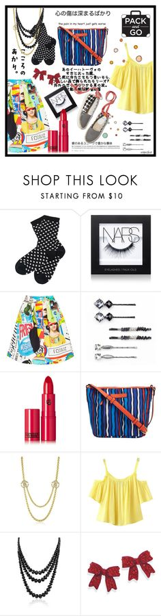 """""""HARAJUKU SAN #3"""" by wynsha ❤ liked on Polyvore featuring Barbour, NARS Cosmetics, Moschino, Pierre Hardy, Elle, Lipstick Queen, Vera Bradley, Roberto Cavalli, Chicnova Fashion and Bling Jewelry"""