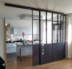 Verrire with a double sliding door ral 7021 Verrire avec une double porte coulissante ral 7021 - Door House Design, House Interior, House, Double Sliding Doors, Interior, Kitchen Room, Home Deco, Home Decor, Modern Room Divider