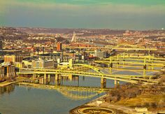 pittsburgh  known as the Venice of North America. I forget how many bridges there are at last count, but alot!