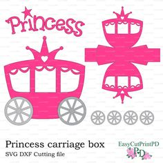 Princess Carriage box template ~ Invitation Templates on Creative Market Cinderella Silhouette, Princess Carriage, Printable Box, Printables, Free To Use Images, Baby Svg, Kirigami, Wedding Stationery, Paper Dolls
