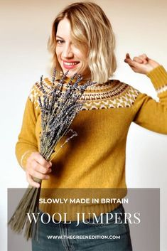 Five beautiful slowly made wool jumpers from the UK. Fall Fashion Outfits, Slow Fashion, Women's Fashion Dresses, Ethical Fashion Brands, Ethical Clothing, Mustard Yellow Sweater, Made Clothing, Fashion Moda, Jumpers For Women