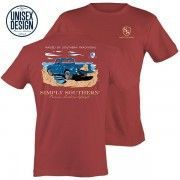 Simply Southern UNISEX Brick Red Raised By Southern Traditions Truck Short Sleeve T-Shirt