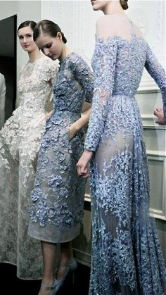 Wedding dress: Blue. Embroidered. Lace. Sheer. Elie Saab